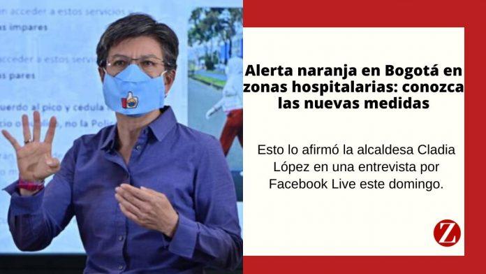 La alcaldesa Claudia López anunció alerta naranja en la zona hospitalaria de la capital.