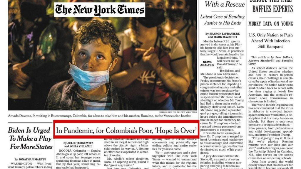 El incremento de la pobreza en Colombia según The New York Times.