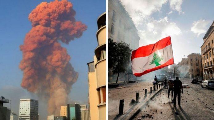 Manifestantes en Beirut tras explosión.