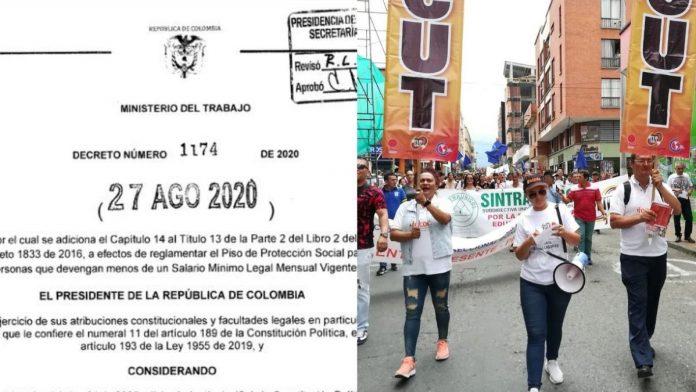 Decreto 1174 más precarización laboral con el piso mínimo de protección social
