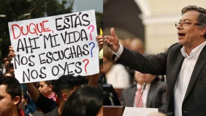 Gustavo Petro protestas en Bogotá