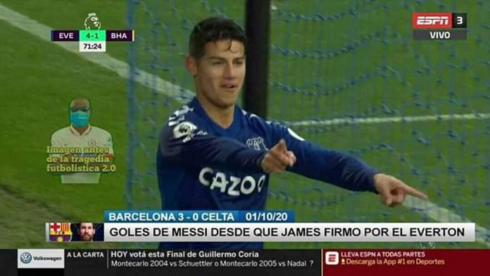 James Rodríguez Leonel Messi ESPN