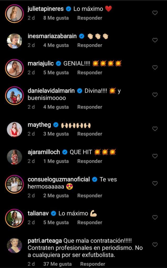 Comentarios de los famosos en la cuenta de Instagram de Andrea Guerrero.