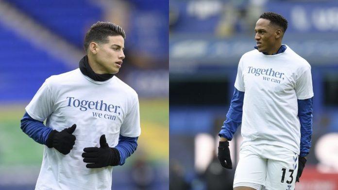 James Rodríguez junto a Yerry Mina calentando antes del partido contra Newcastle