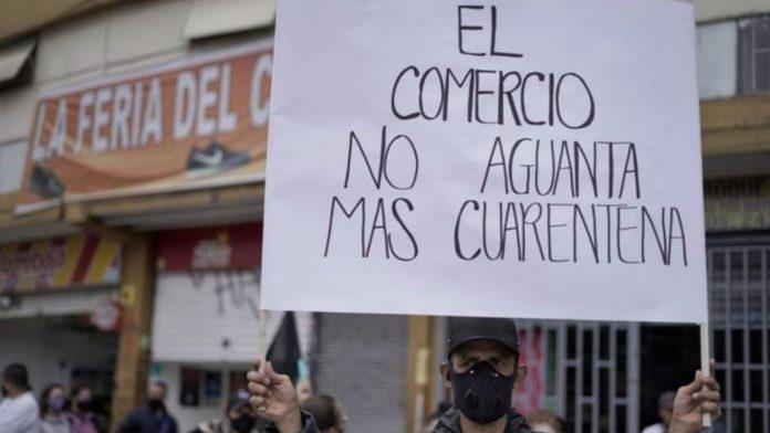 Protesta de comerciantes en Bogotá