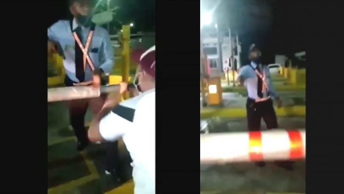 Vigilante amenaza a conductor por no pagar peaje de Turbaco