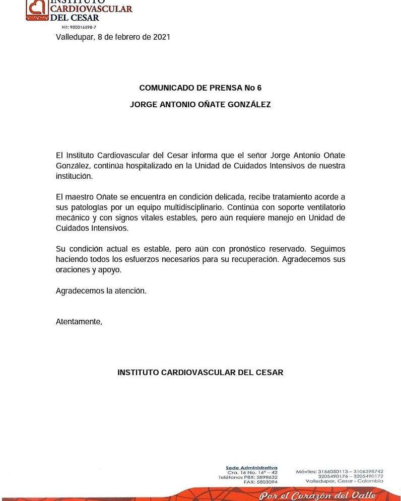Comunicado 6 Jorge Oñate
