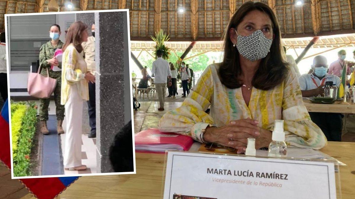 Marta Lucía Ramírez es tendencia por militar que le carga su bolso