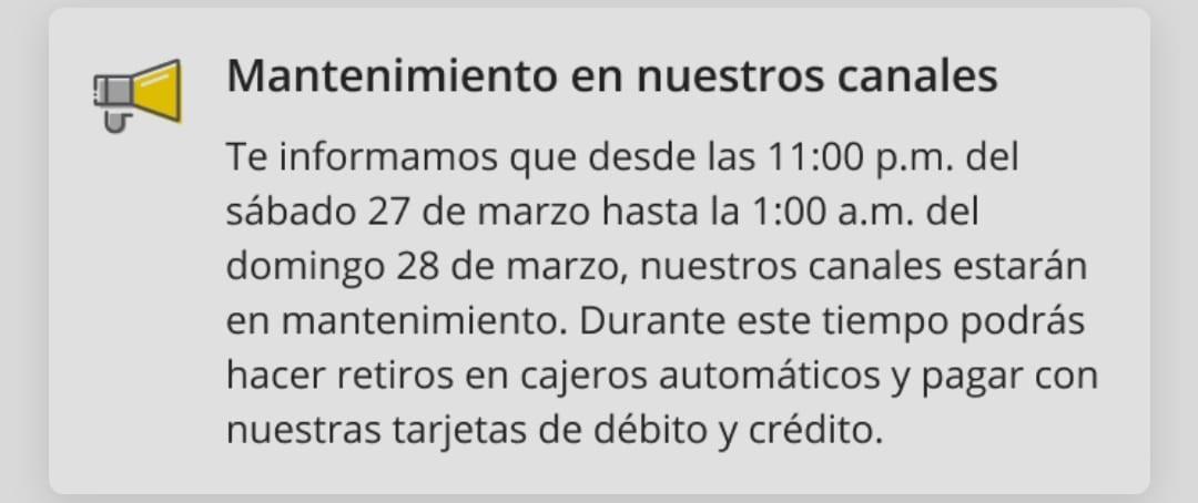 Bancolombia mantenimiento marzo