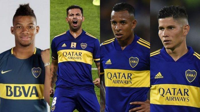 Fabra, Cardona, Villa y Campuzano, el cuarteto colombiano en Boca Juniors