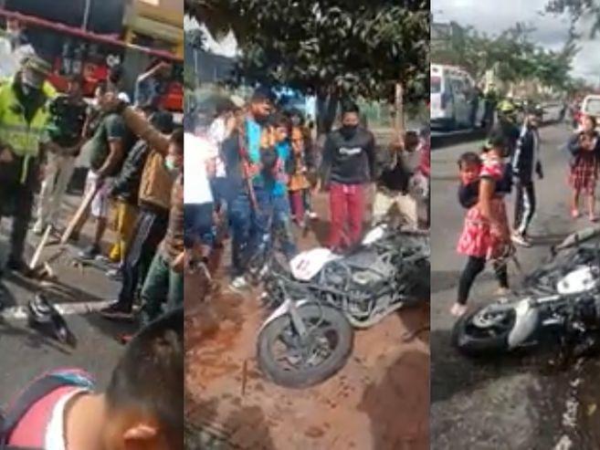 Por rabia los indígenas destruyeron la moto / Foto: El Espectador.