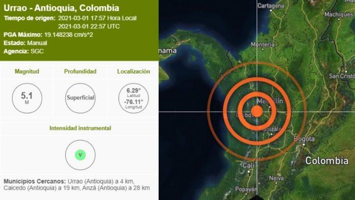 Sismo en Antioquia