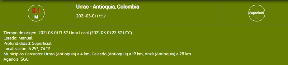 Sismo en Antioquia lunes 01 de marzo de 2021
