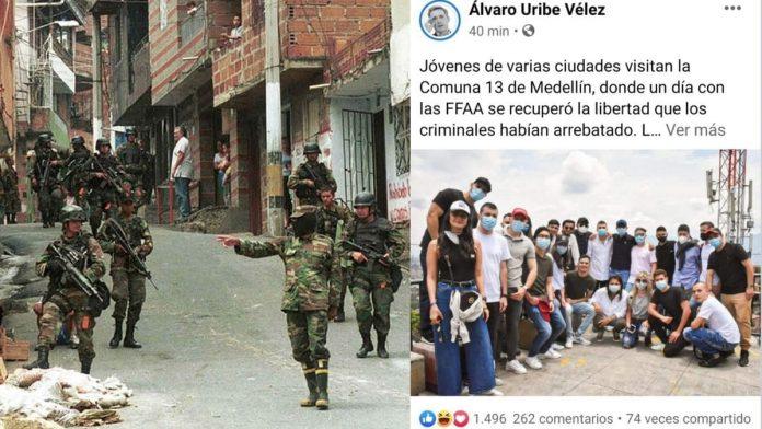 Turismo de muerte. Foto Álvaro Uribe Facebook