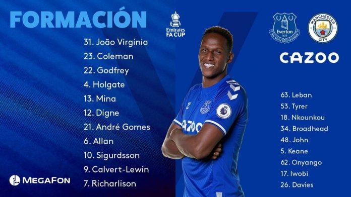 Yerry Mina titular. Foto Everton Español