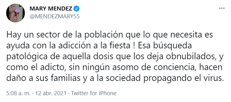 Fuente: Mary Méndez Twitter.