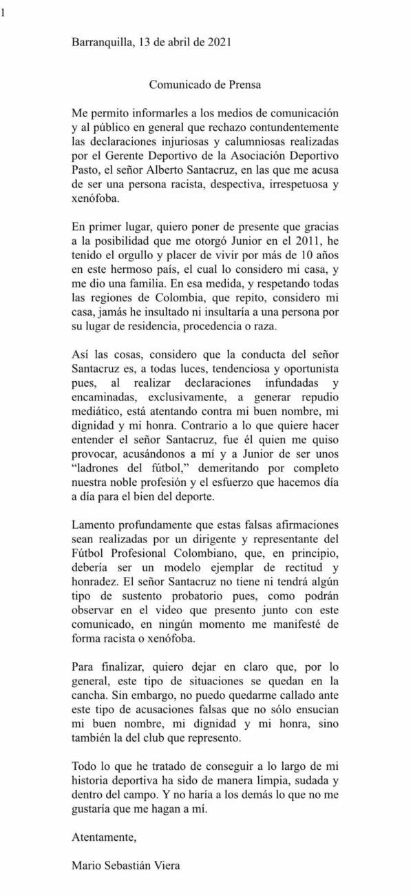 Comunicado Sebastián Viera