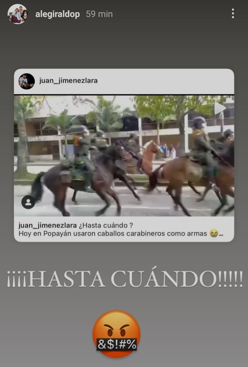 Alejandra Giraldo caballos de la Policía