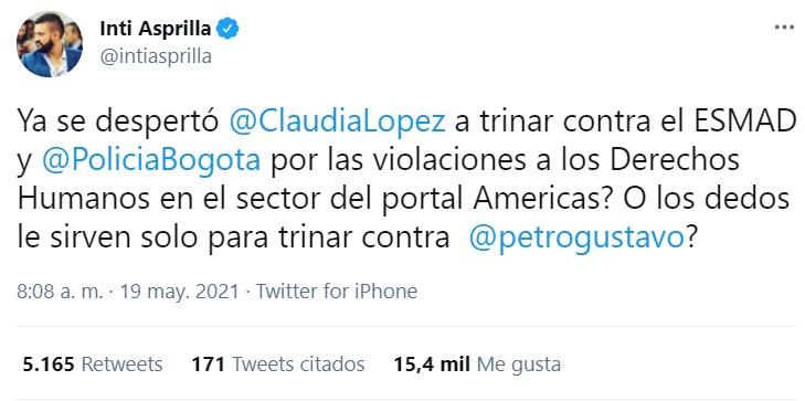 Inti Asprilla sobre Claudia López