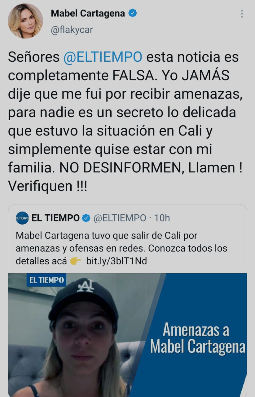 Mabel Cartagena El Tiempo