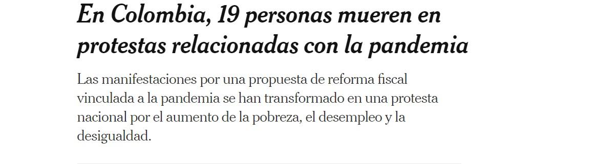 Titular The New York Times sobre las protestas en Colombia-