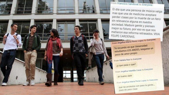 Universidad de los Andes sobre manifestantes