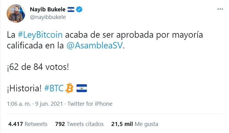 Bitcoin aprobado en El Salvador
