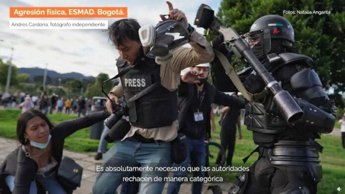 Agresión del ESMAD a la prensa en Colombia