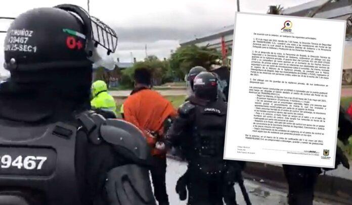 ESMAD retuvo manifestantes en portal de Transmilenio