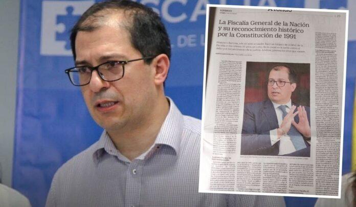 Fiscal Barbosa tuvo un espacio especial en el periódico El Tiempo de Luis Carlos Sarmiento Angulo
