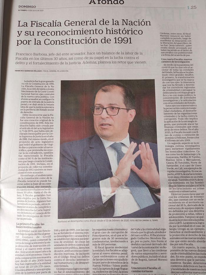 Fiscalía de Barbosa paga millonario publirreportaje en el periódico de Luis Carlos Sarmiento Angulo.