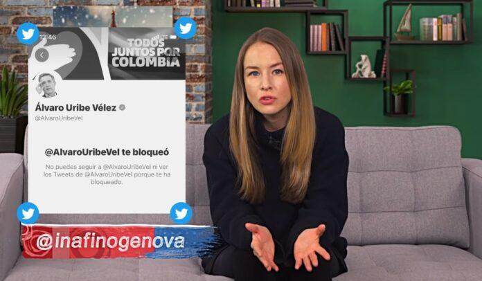 Inna Afinogenova bloqueada en Twitter por Uribe
