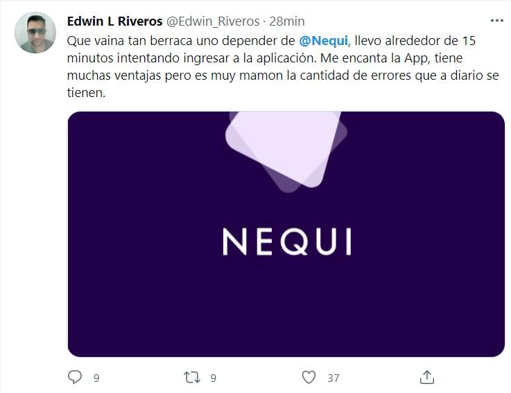 Usuarios molestos con Nequi.