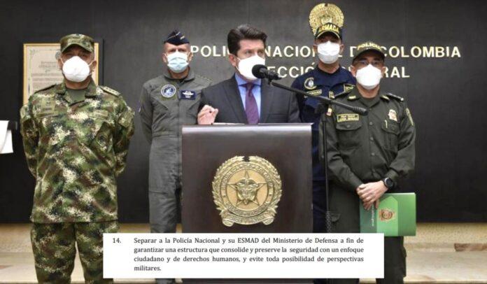 Policía seguirá en el Ministerio de Defensa
