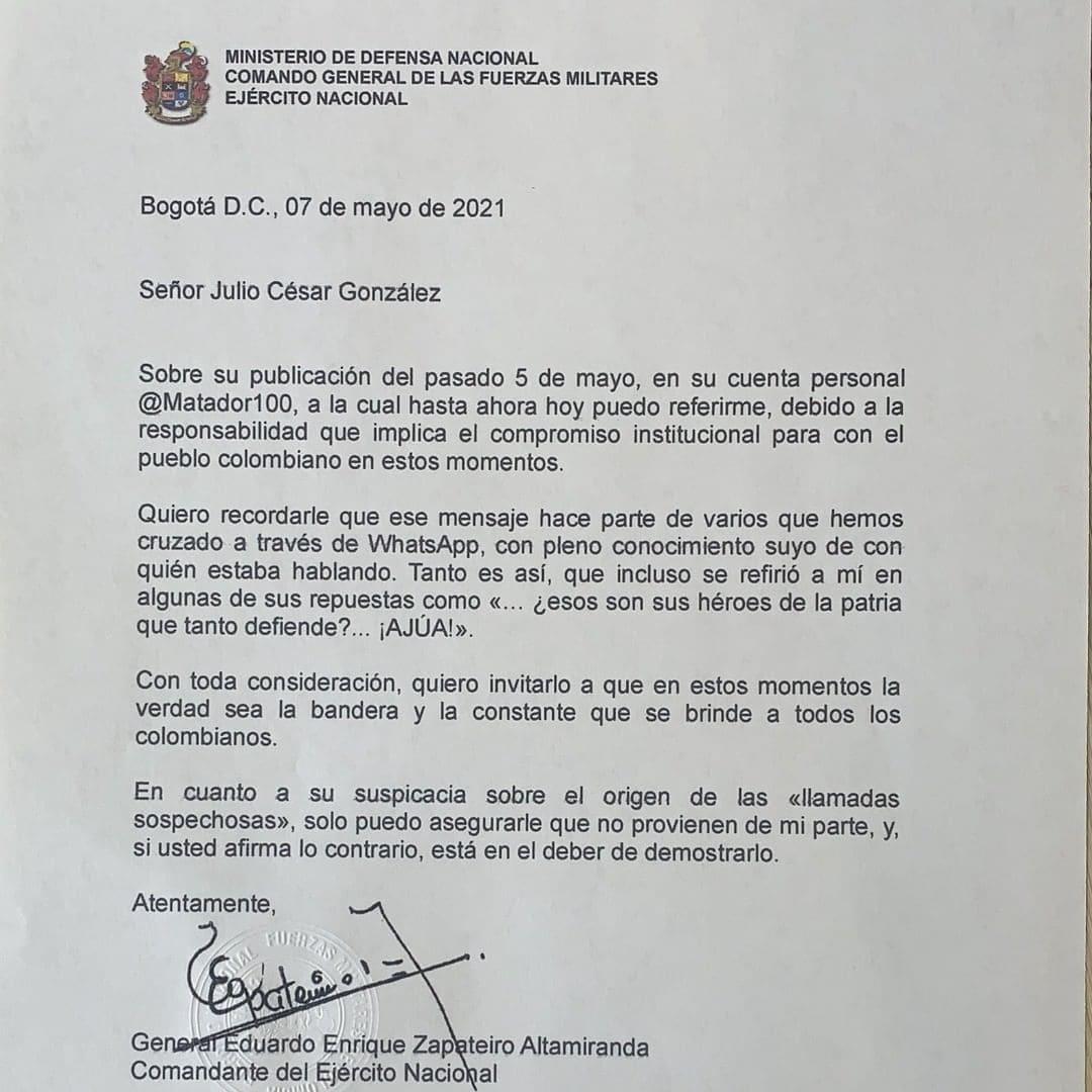 Respuesta del General Zapateiro a Matador