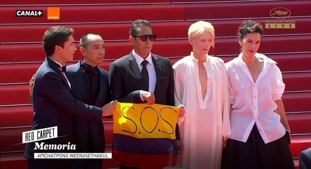 Mensaje de solidaridad con Colombia en el Festival de Cannes.