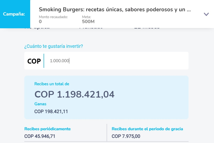 Simulador si se invierte $1 millón de pesos.
