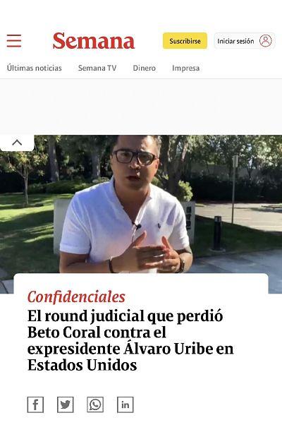 Titular de Revista Semana sobre Beto Coral.