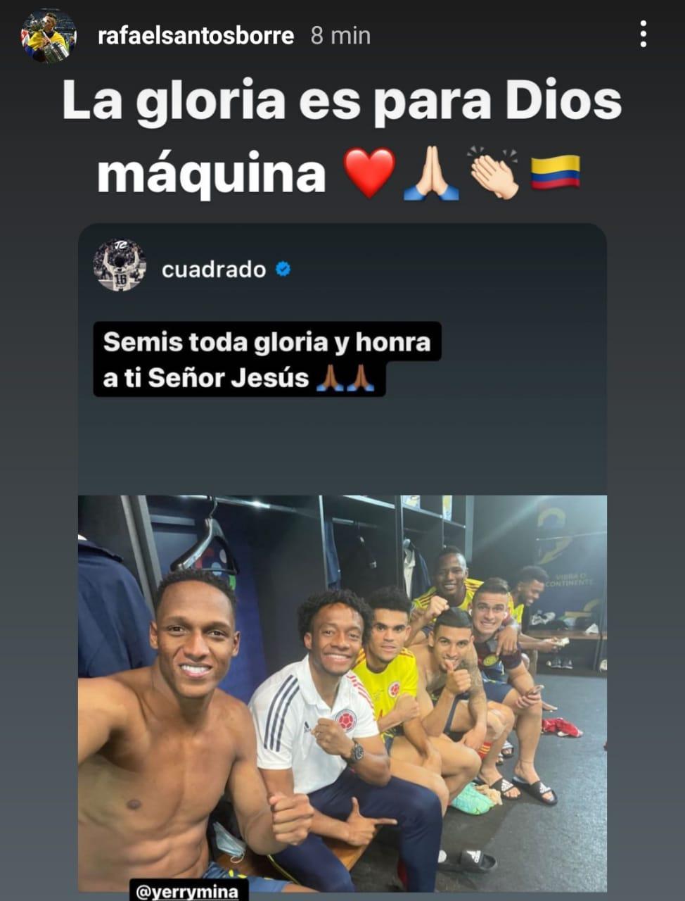 Borré compartió en Instagram el triunfo de la Selección Colombia frente a Uruguay.