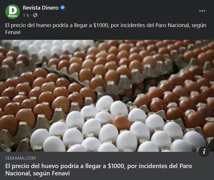 """Semana tituló: """"El precio del huevo podría a llegar a $1000, por incidentes del Paro Nacional, según Fenavi"""""""