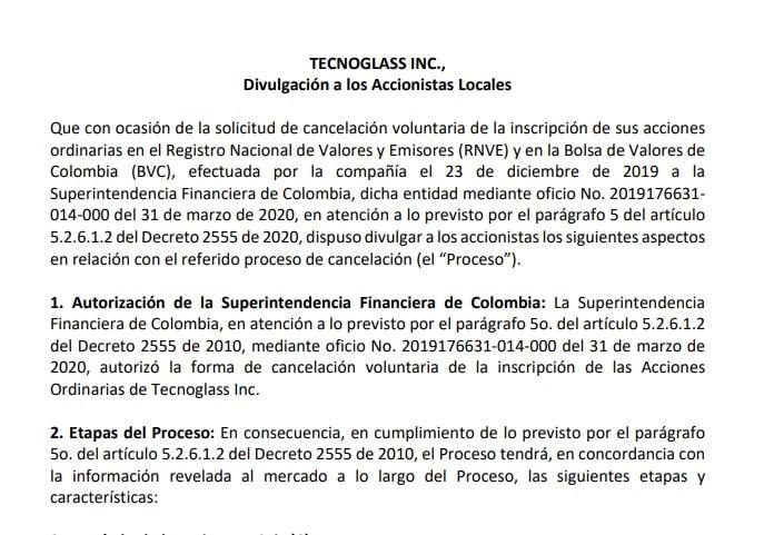 Tecnoglass cancela su participación en la BVC.
