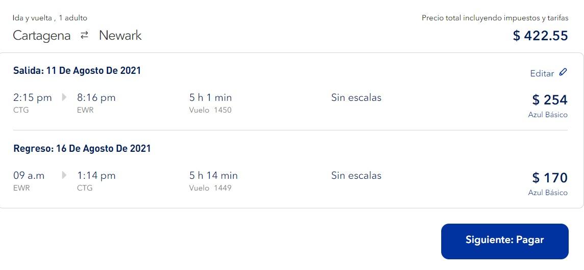 Un vuelo de ida y regreso costaría $1.700.000 mil pesos. Duración 5 horas.
