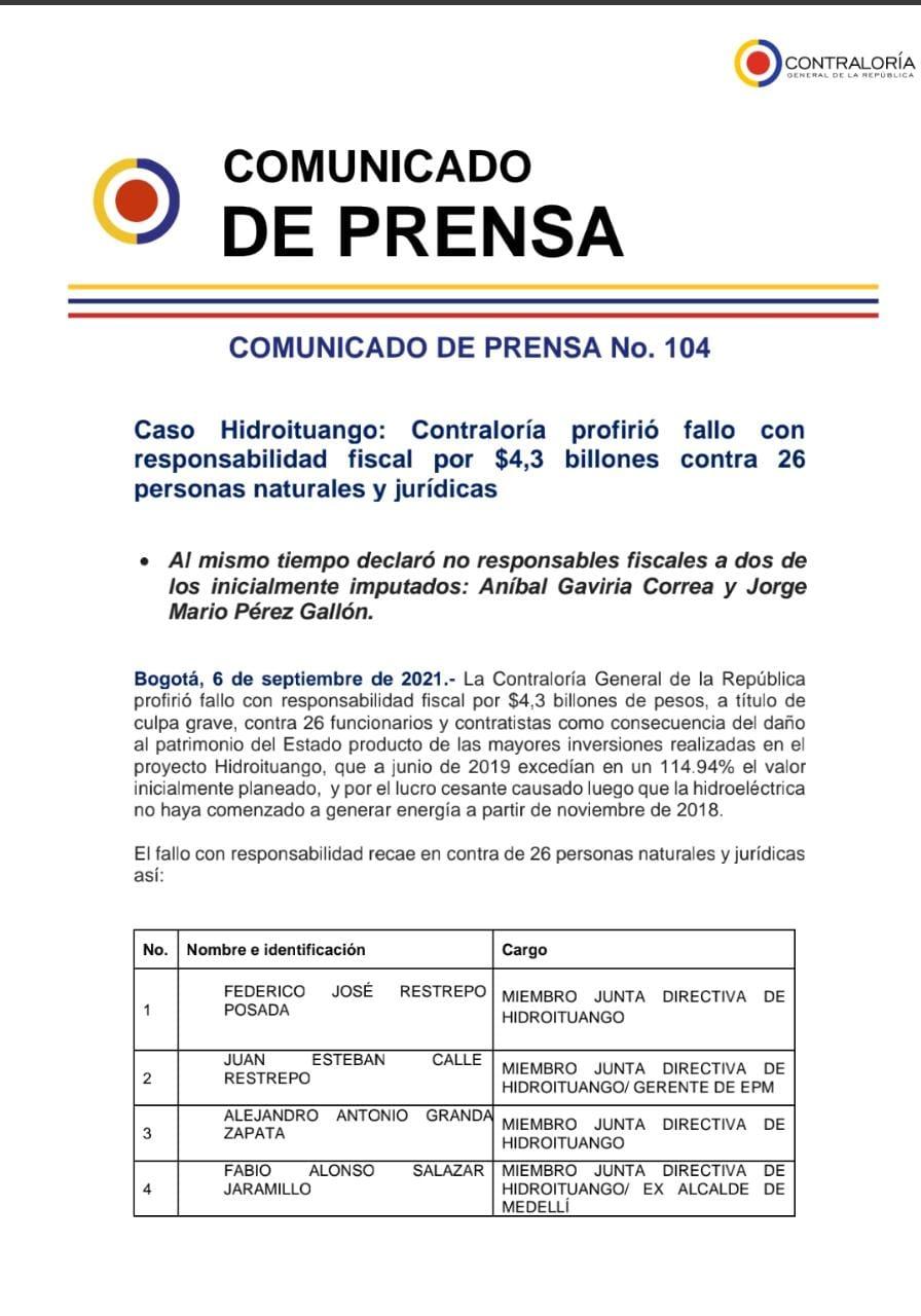 Comunicado Contraloría sobre el caso Hidroituango.