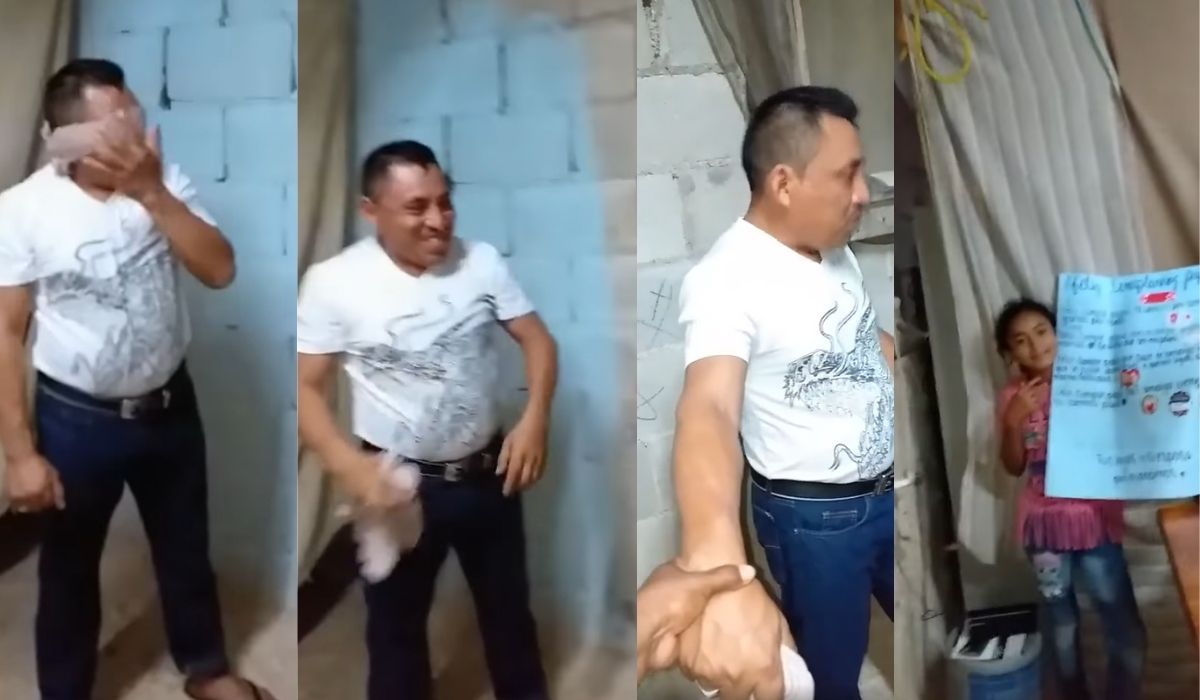 Hombre al parecer de México recibe una sorpresa de su familia