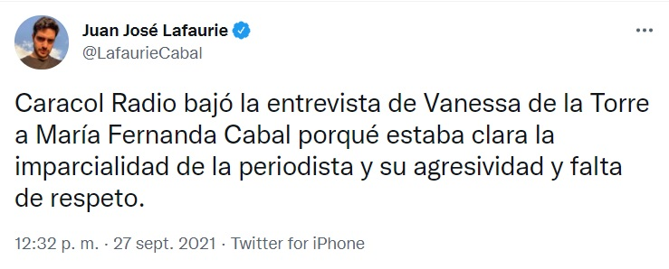 Juan José Lafaurie trinó contra Vannesa de la Torre