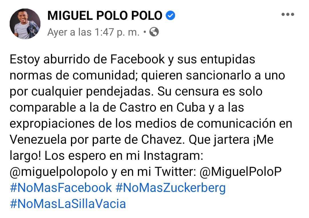 Miguel Polo Polo mensaje en Facebook.